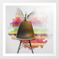 cockatoo on eames chair rainbow colours Art Print