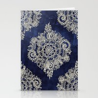 blue Stationery Cards featuring Cream Floral Moroccan Pattern on Deep Indigo Ink by micklyn