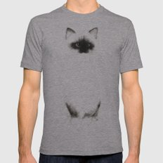 Angora Siamese Cat - Chat Siamois Angora Mens Fitted Tee Athletic Grey SMALL