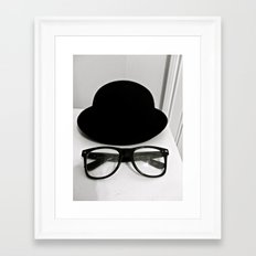 Nerd Glasses and Hat Framed Art Print