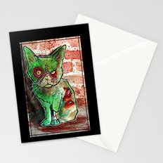 Mean Green Cute Zombie Cat Stationery Cards
