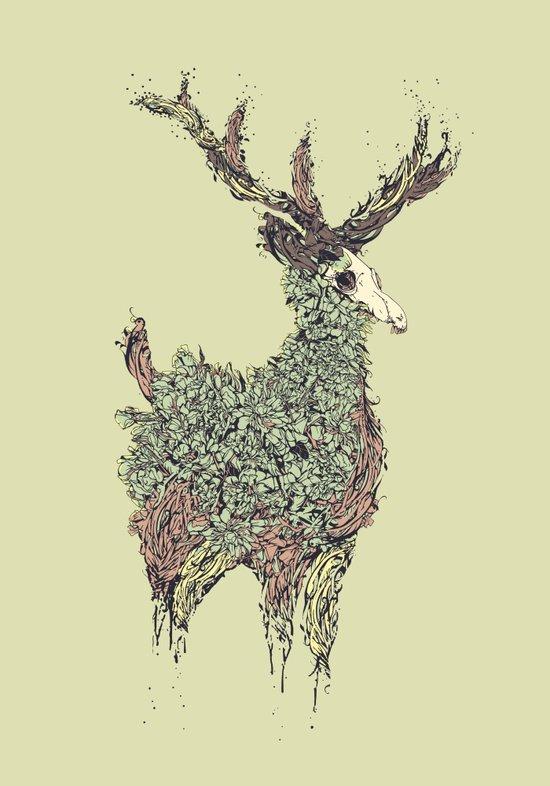 Beautiful Deer Old Canvas Print