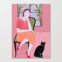 Lady In Pink Room Canvas Print