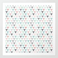 Geometric Pastel Triangl… Art Print