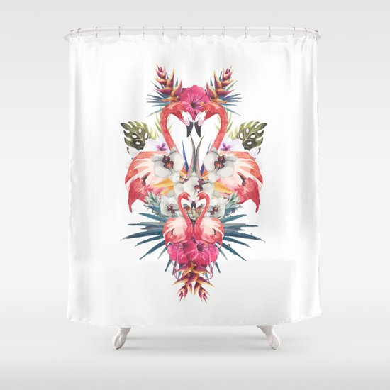 Flamingos Tropicales Shower Curtain By Eleaxart