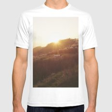 Sheep grazing on hillside at sunset. Derbyshire, UK. Mens Fitted Tee SMALL White