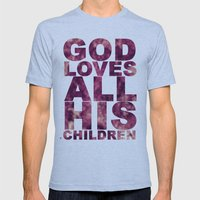 GOD LOVES ALL HIS CHILDREN (Acts 10:34-35) Mens Fitted Tee Athletic Blue SMALL