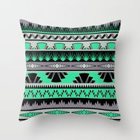 art deco stripes - green & pale purple Throw Pillow