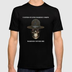 Marines never die. Black SMALL Mens Fitted Tee