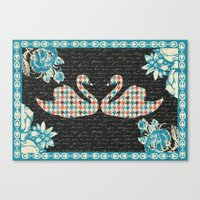 Houndstooth Swans (A Lov… Canvas Print