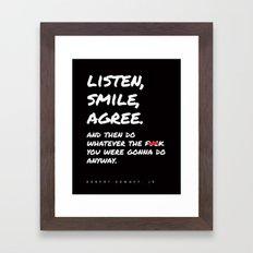 Robert Downey Jr - Listen Smile Agree Framed Art Print