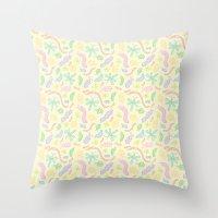 Pastel Bugs Throw Pillow