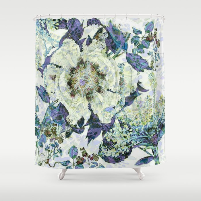 Floral In Blue Shower Curtain By Clemm