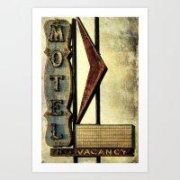 Vintage Arrow Motel Sign Art Print