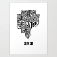 Detroit Typography Map P… Art Print