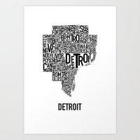 Detroit Typography Map P… Art Print