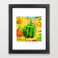 Green Bell Pepper - Vint… Framed Art Print