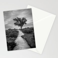 Windswept Tree at Fort Fisher NC -- Black and White Coastal Landscape Stationery Cards