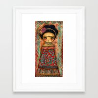 Frida In A Red And Teal … Framed Art Print