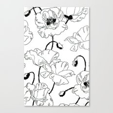 Black and White Poppies Canvas Print