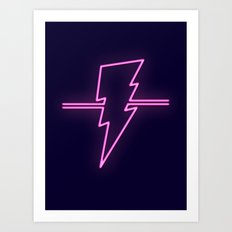 Rad Pink Neon Lightning Art Print