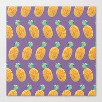 Pineapple Watercolor Canvas Print