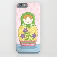 iPhone & iPod Case featuring Matryoshka Doll (green & yellow) by Amanda Francey