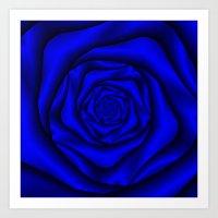 Deep Blue Rose Spiral Art Print