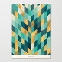 Gold Blue Green Pattern Canvas Print