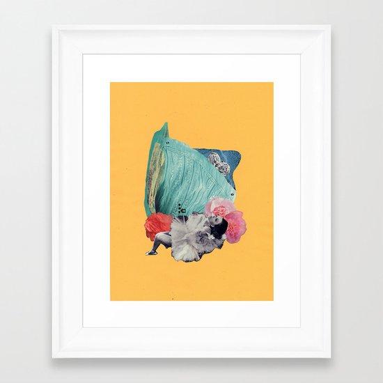 your cheeks are flush like rose petals Framed Art Print
