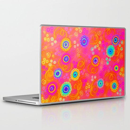SWIZZLE STICK - Sweet Cherry Red Fruity Candy Swirls Abstract Watercolor Painting Feminine Art Laptop & iPad Skin