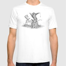 'Looking For Astronauts' SMALL White Mens Fitted Tee