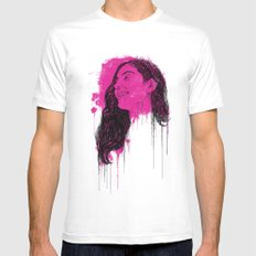 Black Pink Pop White SMALL Mens Fitted Tee