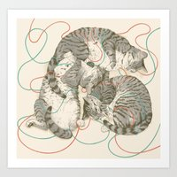 cats Art Prints featuring cats by Laura Graves