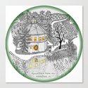 Round Barn Inn, Waitsfield, Vermont near Sugarbush- Zentangle illustration Canvas Print