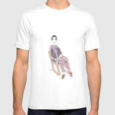 girl in a chair Mens Fitted Tee White SMALL