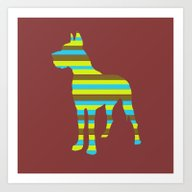 Great Dane Stripes Art Print