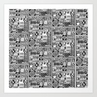 Black And White Icons Art Print