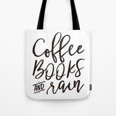 Coffee Books And Rain Art Print Tote Bag