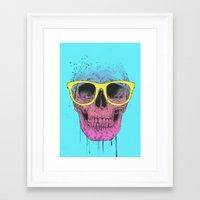 Pop Art Skull With Glass… Framed Art Print