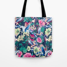 Unicorn and Floral Pattern Tote Bag