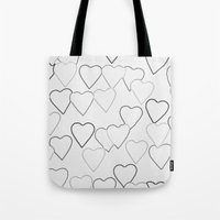 Black And White R Hearts Tote Bag
