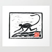 2016 year of the Monkey Block Print Art Print