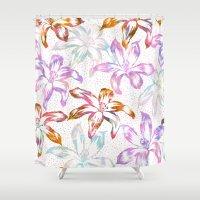 Aztec Sunrise Floral - White Shower Curtain