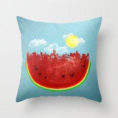 Watermelon City Throw Pillow
