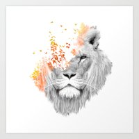 lion Art Prints featuring If I roar (The King Lion) by Picomodi