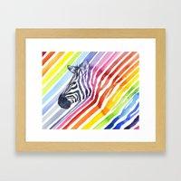 Zebra Rainbow Stripes Camouflage Framed Art Print