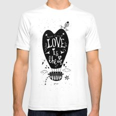 LOVE IS IN THE AIR White Mens Fitted Tee SMALL