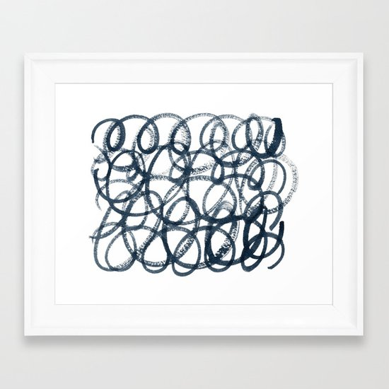 Navy Swirls Framed Art Print