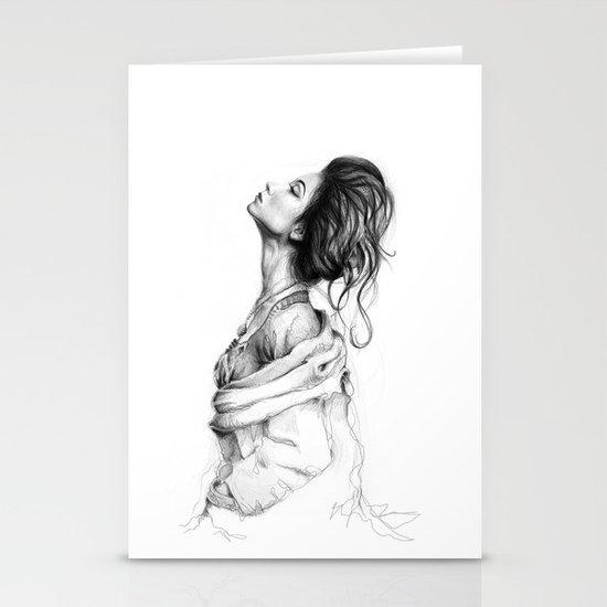 Pretty Lady Illustration Stationery Card